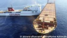 In this photo provided by the Marine Nationale, a Tunisian ship and a Cypriot ship are see after a collision in the Mediterranean Sea north of Corsica island, Sunday, Oct. 7, 2018. French maritime authorities are trying to contain an apparent oil spill after two merchant ships collided in the Mediterranean Sea north of Corsica. A spokesman for the regional French maritime authority said no one was injured in the collision Sunday, and the size and exact nature of the spill remain unclear.(Marine National via AP) |