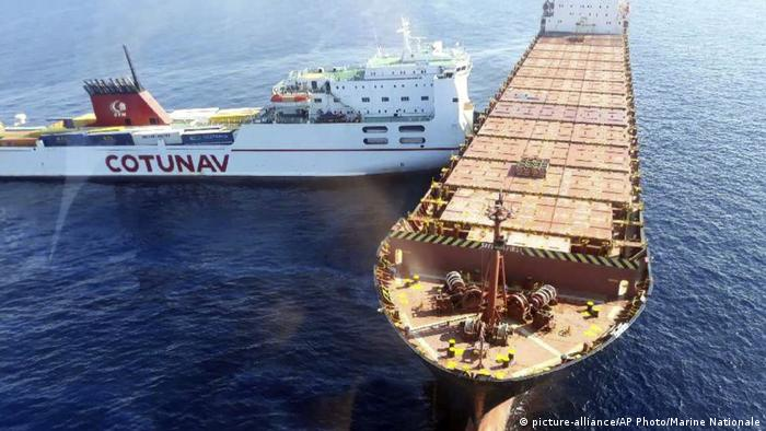 Two cargo ships collide in the Mediterranean Sea near the island of Corsica