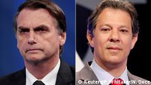 FILE PHOTO: A combination of file photos shows presidential candidate Jair Bolsonaro (L) attending a television debate at the Rede TV studio in Osasco, Brazil August 17, 2018, and presidential candidate Fernando Haddad attending a televised debate in Sao Paulo, Brazil September 26, 2018. REUTERS/Paulo Whitaker/Nacho Doce/File Photos
