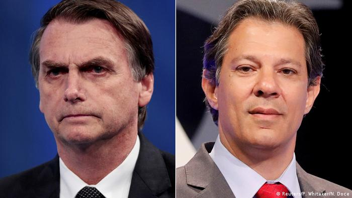 Candidates for the run-off Jair Bolsonaro and Fernando Haddad