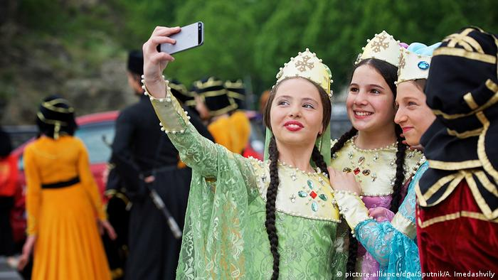 Young participants in the Ethnic Costume Day celebration in Tbilisi.
