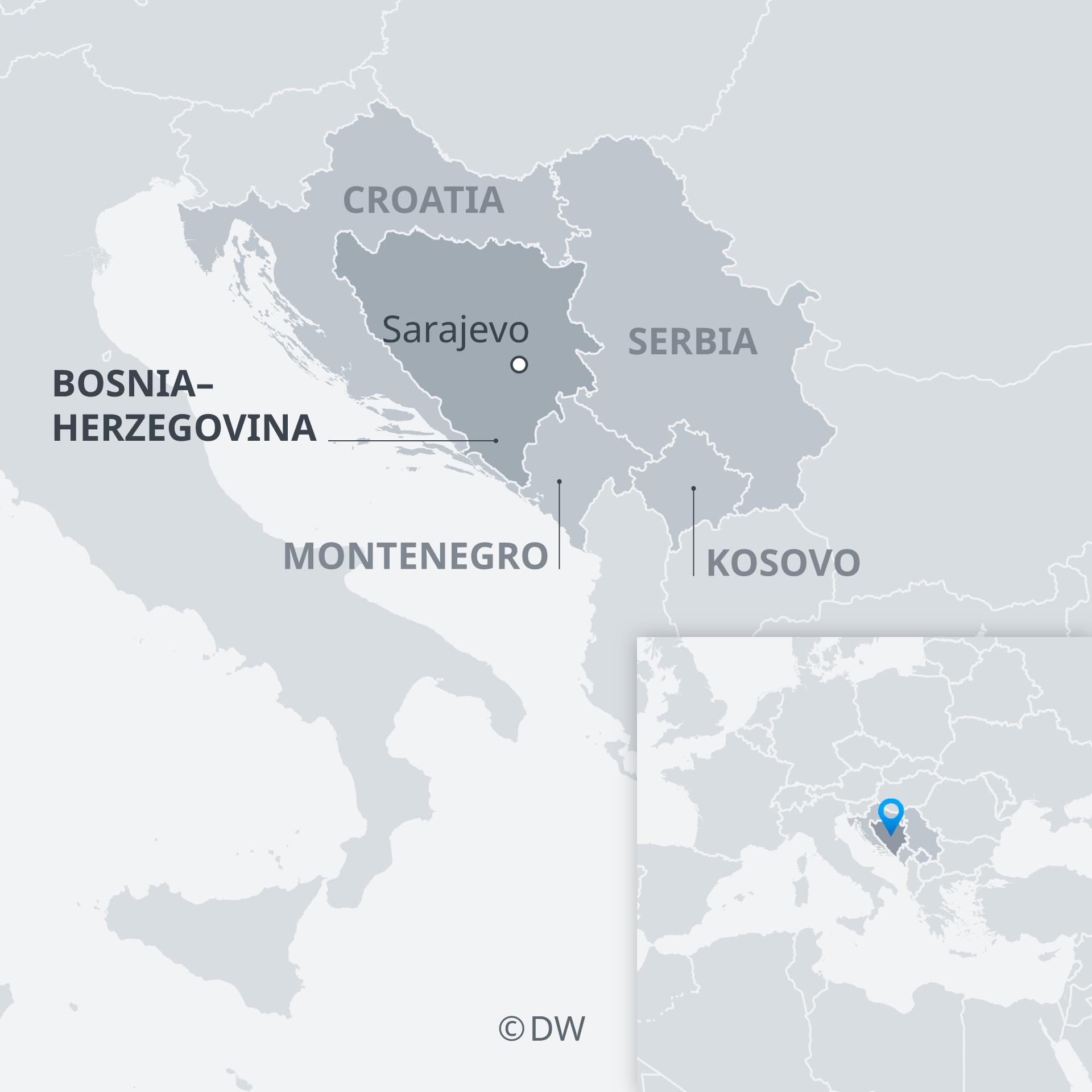 Karte Bosnien und Nachbarländer EN