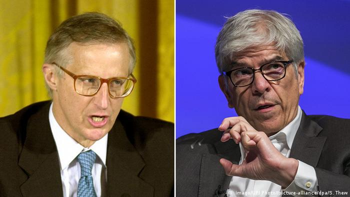 Vencedores do Prêmio Nobel de Economia, William Nordhaus, à esquerda, e Paul Romer, à direita.