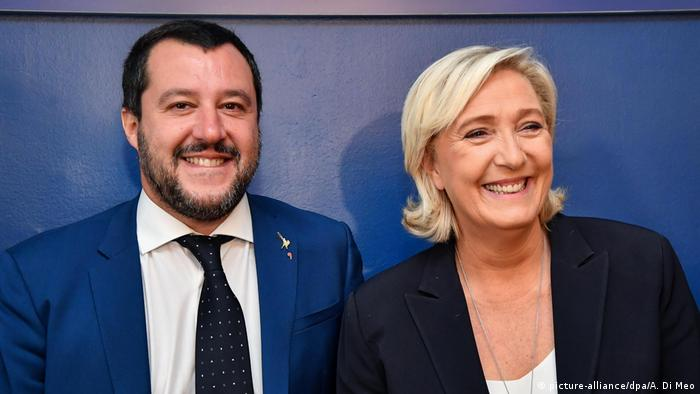 Italian interior minister Matteo Salvini and Marine Le Pen, head of the French right-wing party Rassemblement national (formerly Front National)