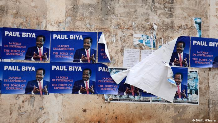 Election posters depicting President elect Paul Biya