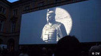 Stummfilmtage in Bonn. Leinwand mit Film (Foto: Praktikantin Katja Kryzhanowskaja)