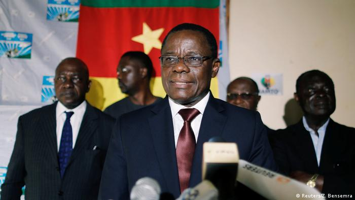 Cameroonian opposition leader Maurice Kamto speaks during a press conference