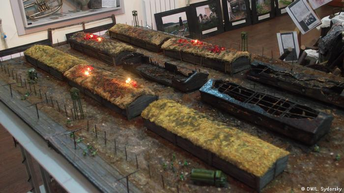 A model of the warehouse in Odessa's Holocaust Museum depicts the massacre