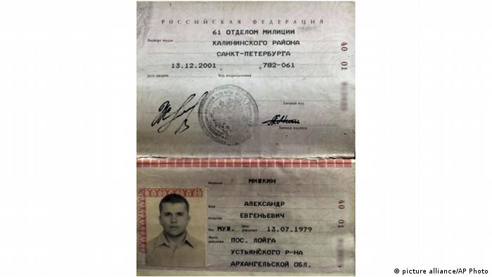 Passport of Alexander Yevgenyevich Mishkin Passport