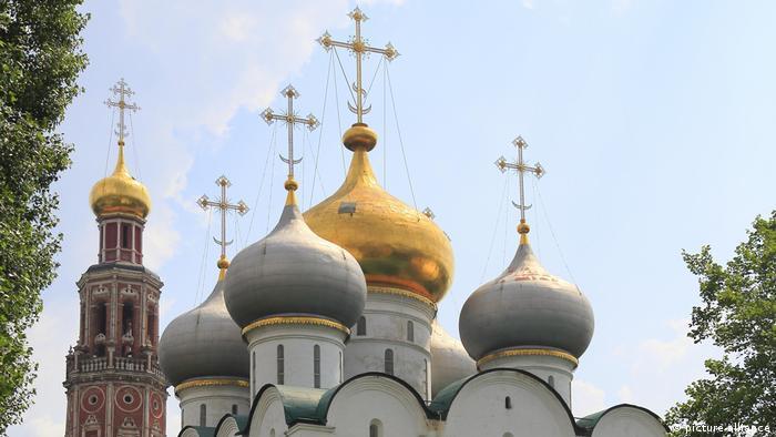 Купола Смоленского собора и Новодевичего монастыря