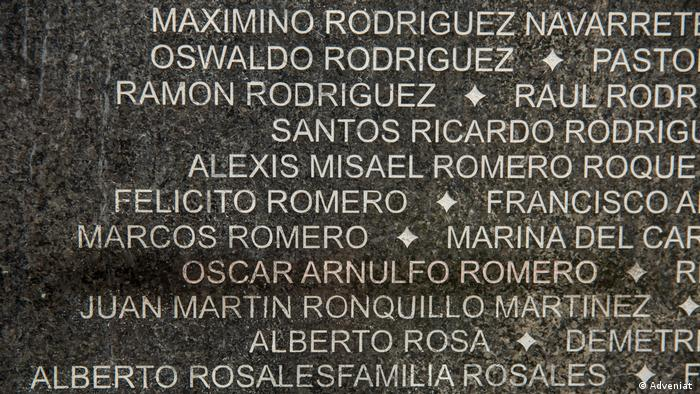 Romero's name on a wall along with those of other victims of El Salvador's civil war.