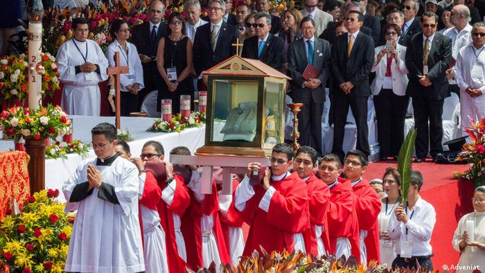 Beatification ceremony for Romero, with portable shrine containing his bloodstained shirt.