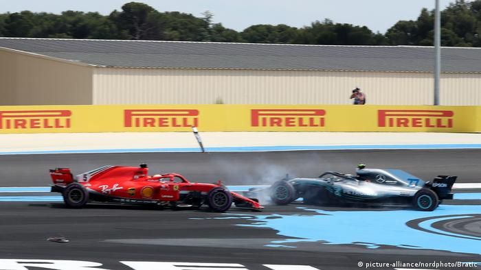 Formel 1 in Le Castellet| Sebastian Vettel, Ferrari | Crash mit Valtteri Bottas, Mercedes (picture-alliance/nordphoto/Bratic)