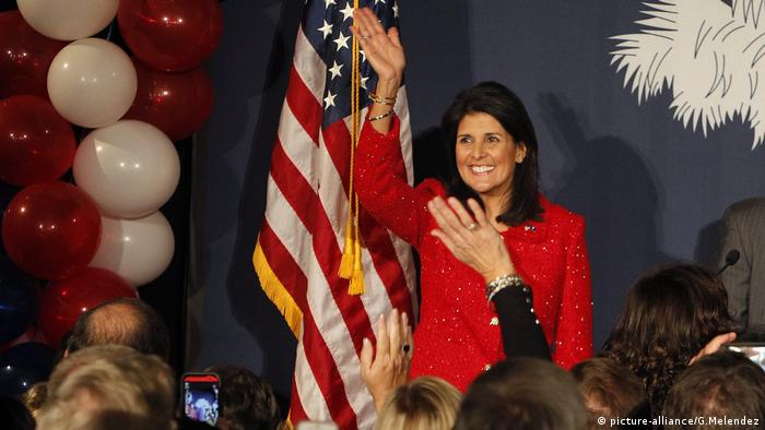 South Carolina governor Nikki Haley celebrates after winning re-election