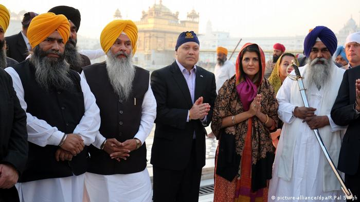 Nikki Haley, the governor of South Carolina, and her husband Michael Haley at the Golden Temple, the holiest of Sikh shrines, in Amritsar, India.