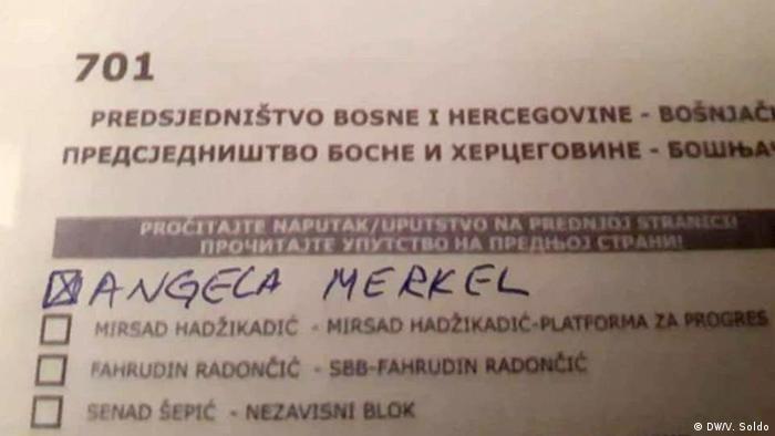 Wahlzettel Bosnien und Herzegowina