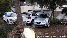 Damaged cars are seen after a storm on the island of Mallorca, Spain October 10, 2018 in this image obtained from social media. Joan Camacho via REUTERS ATTENTION EDITORS - THIS IMAGE WAS PROVIDED BY A THIRD PARTY. NO RESALES. NO ARCHIVES. MANDATORY CREDIT