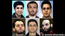 ARCHIV - Die undatierten Archivbilder zeigen Mitglieder der sogenannten Hamburger Terrorzelle (oben l-r) Zakariya Essabar, Abdullah Binalshibh, Said Bahaji, (unten l-r) Mounir El Motassadeq, Mohammed Atta und Abdelghani Mzoudi. Schon kurz nach den verheerenden Anschlägen vom 11. September 2001 in den USA konzentrierten sich die Fahnder auf Hamburg. Drei der vier Piloten und mindestens sechs mutmaßliche Unterstützer gehörten zu der sogenannten Hamburger Zelle. Als Zentrale galt eine Wohnung in der Marienstraße in Hamburg-Harburg. Foto: dpa/lno (zu dpa/lno «Themenpaket - 11. September» vom 07.09.2011) +++(c) dpa - Bildfunk+++ | Verwendung weltweit
