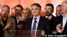 07.10.2018****Zeljko Komsic, Bosnian-Croat candidate for Bosnia and Herzegovina's tripartite presidency in the next term, speaks at party headquarters in Sarajevo on October 7, 2018. - Nationalist Milorad Dodik claimed victory Sunday in a race for the Serb seat of Bosnia's three-man presidency, a post he will share with Muslim and Croat leaders in a country splintered by ethnic divides. The elevation of the hardliner to top office lays bare the nationalism haunting Bosnia more than two decades after it was torn apart by war. (Photo by STR / AFP) (Photo credit should read STR/AFP/Getty Images)