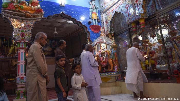 Pakistani Hindus pray at the Shri Krishna Temple in Mithi, Sindh