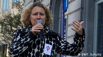 Dutch MEP Judith Sargentini speaks outside European Parliament