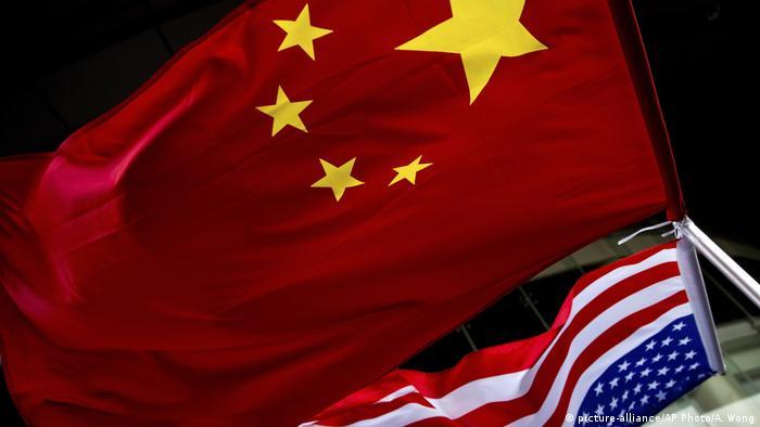 China Peking Flaggen China und USA