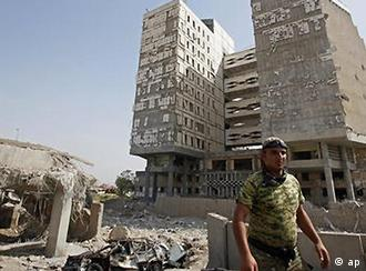 damaged finance ministry in Baghdad