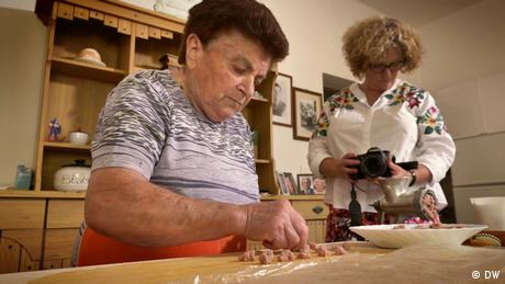 A lady in Italy makes hand-made pasta