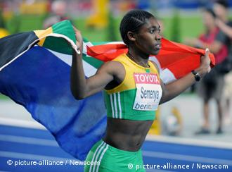 Aug 19, 2009; Berlin, GERMANY; Caster Semenya (RSA) takes a victory lap after winning the women's 800m in 1:55.45 in the 12th IAAF World Championships in Athletics at Olympic Stadium. Photo via Newscom Picture-Alliance