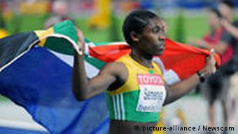 Caster Semenya (RSA) takes a victory lap after winning