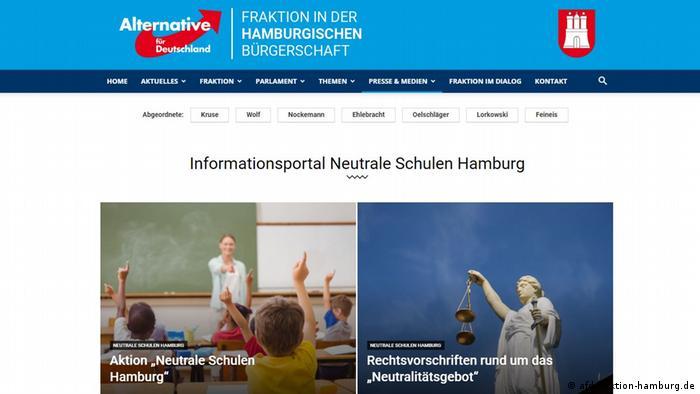 Screenshot AfD-Fraktion Hamburg | Neutrale Schulen