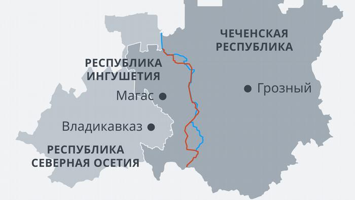 Инфографика - административная граница Чечни и Ингушетии