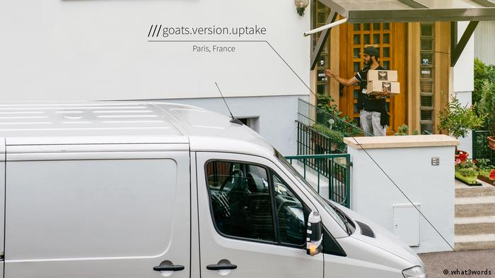Delivery van using what3words