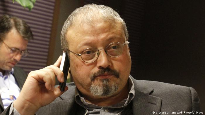 Jamal Khashoggi speaks on his cellphone