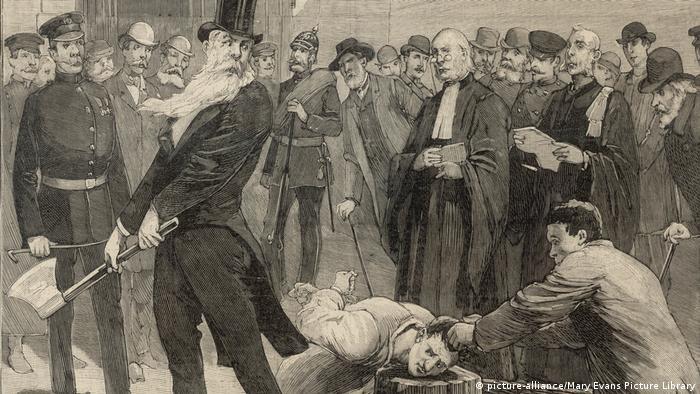 Обложка журнала Le Petit Parsien, на которой запечатлена казнь в Берлине (XIX век)