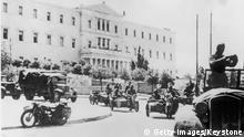 May 1941: German mechanised troops outside the Greek government buildings in Athens during the early stages of the German occupation of Greece. (Photo by Keystone/Getty Images)