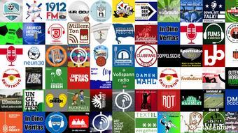 Collage von Sport-Podcast-Logos