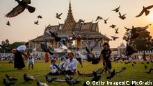 PHNOM PENH, CAMBODIA - JANUARY 31: People play and feed a group of pigeons in front of the Royal Palace on January 31, 2013 in Phnom Penh, Cambodia. Former King Norodom Sihanouk died of a heart attack last October in Beijing at the age of 89. For the past three months his body has been lying in state at the Royal Palace. Officials expect more than one million people to line the streets tomorrow to witness the funeral procession. The former kings body will be transported to a cremation site where it will be kept for three days before his wife and son are expected to light the pyre. (Photo by Chris McGrath/Getty Images)