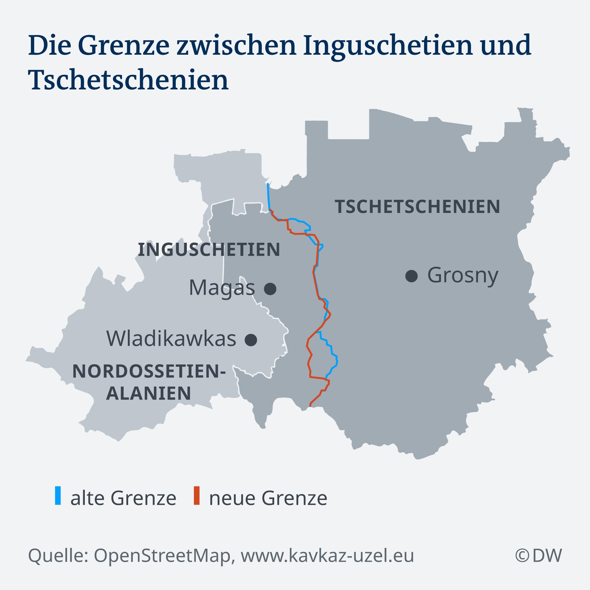Infografik Karte Grenzverlauf Inguschetien Tschetschenien DE
