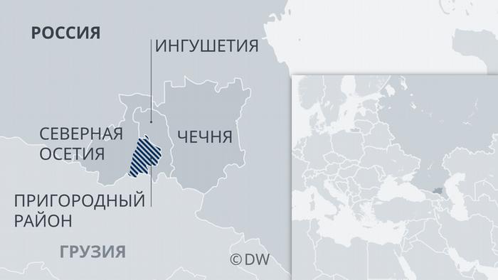Карта Ингушетии, Чечни и Северной Осетии