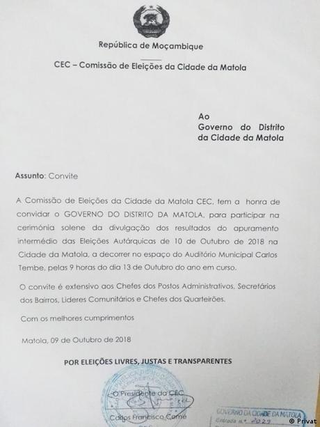 Mosambik Maputo - STAE Erklärung zu Wahlergebnissen