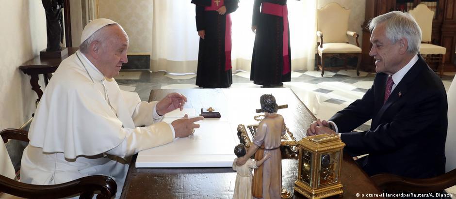 Papa Francisco durante audiência com presidente do Chile, Sebastián Piñera