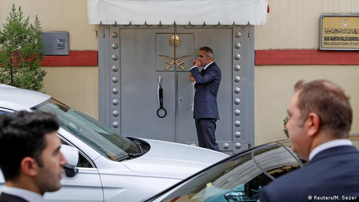 A security guard stands before the door of the Saudi Consulate in Istanbul