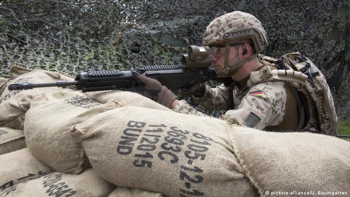 A German soldier aims with the G36 rifle