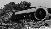 31st March 1977: Mass of wreckage on the runway at Santa Cruz airport, Tenerife after 747 Jumbo Jets belonging to Pan-Am and KLM collided. 562 people died. (Photo by Central Press/Getty Images)