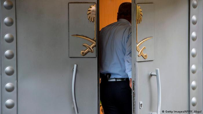 A Saudi security guard stands in the doorway of the Saudi consulate in Istanbul
