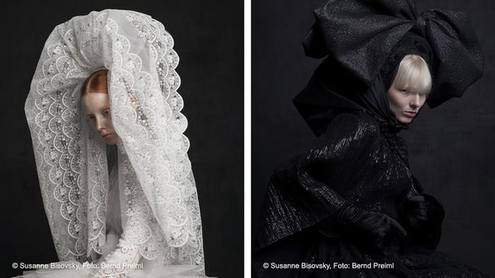 A photograph shows a woman wearing a tall lacey veil, while another shows a woman in all black with a giant bow on her head, © Susanne Bisovsky, Photo: Bernd Preiml