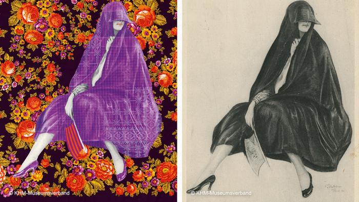 Zwei Bilder, eines farbig, eines schwarz-weiß, zeigen eine Frau in hochhackigen Schuhen, verhüllt von einem Tuch.