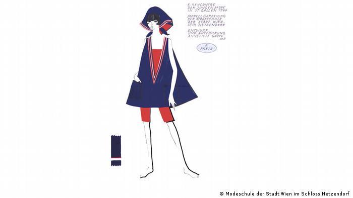 Eine Skizze für einen Modewettbewerb zeigt eine Frau mit Kopftuch und blauer Tunika über roten Shorts (Modeschule der Stadt Wien im Schloss Hetzendorf)