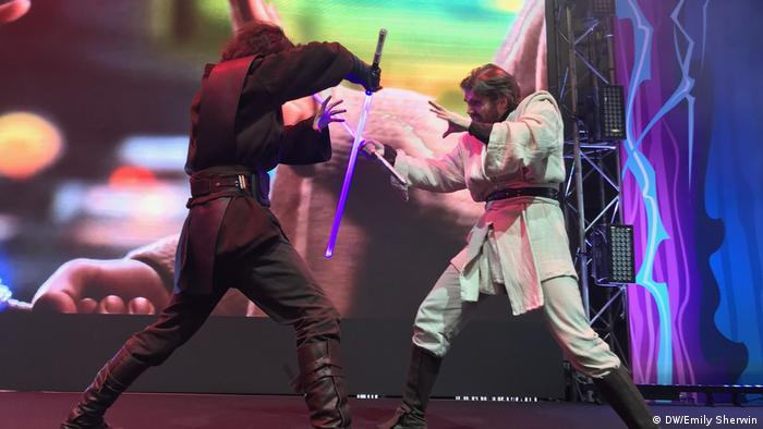 Moscow School of Saber Fighting during their performance at the Russian Comic Con